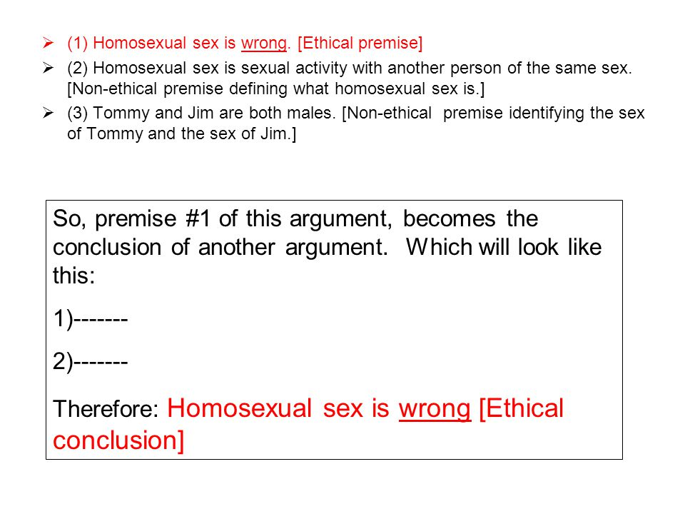 Therefore: Homosexual sex is wrong [Ethical conclusion]